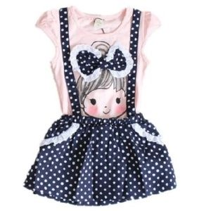 All Dolled Up - Toddler Girls Summer Dress - Navy